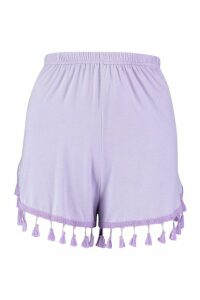 Womens Tassle Trim Flippy Shorts - purple - 14, Purple