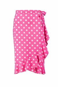 Womens Polka Dot Wrap Midi Skirt - Pink - 10, Pink