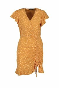 Womens Polka Dot Ruched Front Tea Dress - yellow - 12, Yellow
