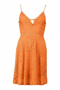 Womens Strappy V Front Lace Skater Dress - orange - 12, Orange