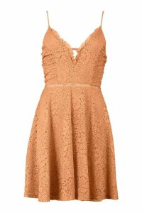 Womens Strappy V Front Lace Skater Dress - beige - 14, Beige