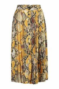 Womens Snake Pleat Button Down Midi Skirt - yellow - S, Yellow