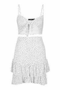 Womens Polka Dot Tie Front Bralet & Ruffle Skirt Co-Ord - white - 14, White