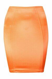 Womens Satin Mini Skirt - orange - M, Orange