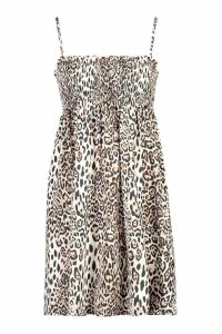 Womens Leopard Print Shirred Smock Dress - brown - 10, Brown