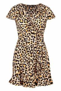 Womens Woven Leopard Neon Tea Dress - beige - 12, Beige