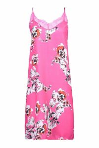 Womens Floral Print Lace Trim Slip Dress - Pink - 10, Pink