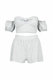 Womens Peasant Sleeve Crop Top & Flippy Short Co-Ord - grey - 12, Grey