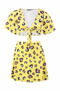 Womens Leopard Tie Front Top & Skater Skirt Co-Ord - yellow - 12, Yellow