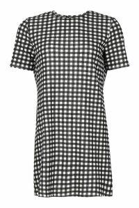 Womens Gingham Short Sleeve Shift Dress - black - 14, Black
