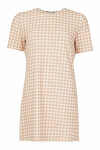 Womens Gingham Short Sleeve Shift Dress - Beige - 8, Beige