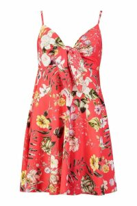 Womens Strappy Bow Detail Swing Dress - red - 12, Red