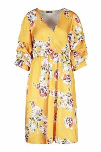 Womens Floral Print Puff Sleeve Belted Midi Skater Dress - yellow - 8, Yellow