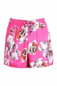 Womens Satin Floral Flippy Shorts - Pink - 14, Pink