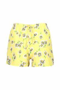 Womens Daisy Print Flippy Shorts - yellow - 6, Yellow