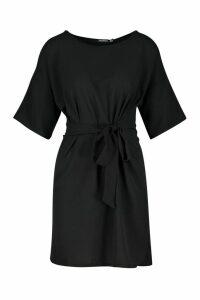 Womens Tie Short Sleeve Shift Dress - black - 8, Black