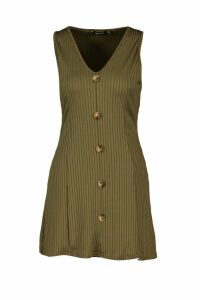 Womens Button Front Ribbed Sundress - green - 12, Green