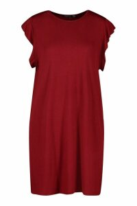 Womens Ruffle Detail Jersey Shift Dress - red - 10, Red