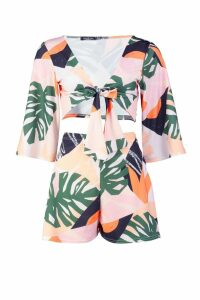 Womens Tropical Tie Front Crop Top & Flippy Short Co-Ord - multi - 14, Multi