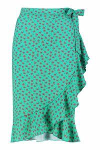 Womens Ditsy Floral Wrap Midi Skirt - green - 12, Green
