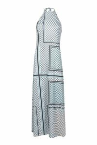 Womens Tile Print Halterneck Maxi Dress - blue - 12, Blue