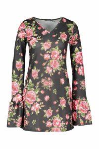 Womens Floral Ruffle Sleeve Shift Dress - black - 12, Black