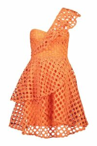 Womens One Shoulder Crochet Lace Skater Dress - orange - 16, Orange