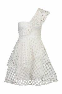 Womens One Shoulder Crochet Lace Skater Dress - white - 8, White