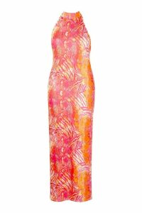 Womens Recycled Slinky Tropical High Neck Maxi Dress - Pink - 22, Pink
