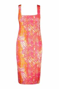 Womens Recycled Slinky Tropical Square Neck Midi Dress - Pink - 10, Pink