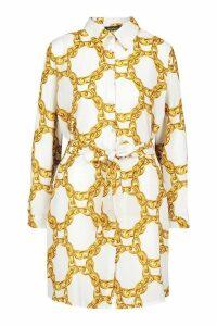 Womens Chain Print Belted Shirt Dress - white - 10, White