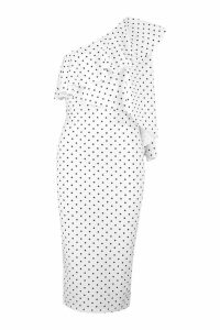 Womens One Shoulder Frill Sleeve Polka Dot Midi Dress - white - 6, White