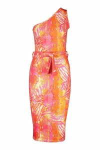 Womens Recycled Slinky Tropical One Shoulder Midi Dress - Pink - 14, Pink