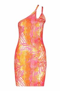 Womens Recycled Slinky Tropical Double Strap Dress - Pink - 14, Pink