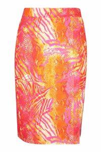 Womens Recycled Slinky Tropical Split Midi Skirt - Pink - 16, Pink