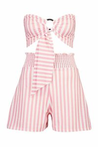 Womens Stripe O Ring Top & Shirred Waist Short Co-Ord - Pink - 14, Pink