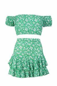 Womens Floral Bardot Top & Ruffle Skirt Co-Ord - green - 14, Green