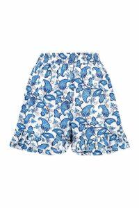 Womens Porcelain Print Ruffle Hem Shorts - blue - 10, Blue