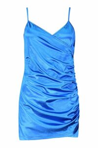 Womens Ruched Stretch Satin Mini Dress - blue - 14, Blue