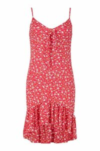 Womens Ditsy Floral Bow Front Shift Dress - red - 14, Red