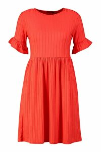 Womens Recycled Rib Ruffle Detail Smock Dress - red - 14, Red