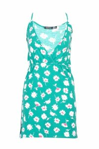 Womens Floral Strappy Skater Sundress - green - 12, Green