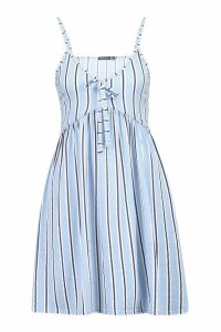 Womens Stripe Tie Front Strappy Sundress - blue - 8, Blue