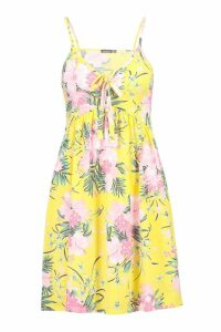 Womens Tropical Tie Front Sundress - yellow - 10, Yellow