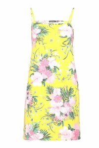 Womens Strappy High Neck Sundress - yellow - 8, Yellow