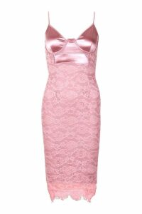 Womens Stretch Satin Cupped Lace Midi Dress - Pink - 10, Pink