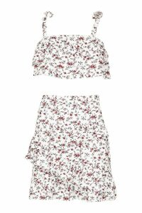 Womens Ditsy Print Tiered Crop & Mini Skirt Co-Ord - white - 6, White