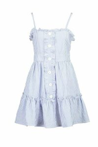 Womens Ruffle Trim Stripe Button Swing Dress - blue - 8, Blue