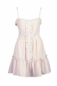 Womens Ruffle Trim Stripe Button Swing Dress - Beige - 16, Beige