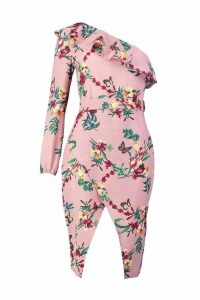 Womens Floral Print One Shoulder Wrap Midi Dress - pink - 14, Pink